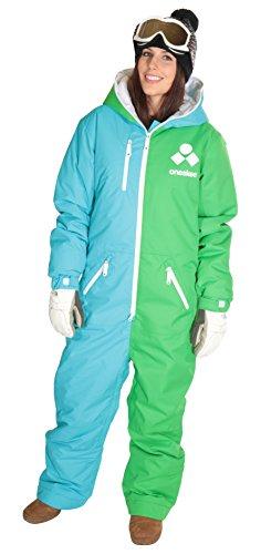 Oneskee Damen Mark II - grün / Blau L Einteilige Skianzüge Skibekleidung snowboarding-Anzug