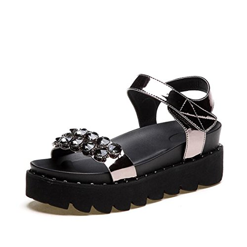 ZZZJR Jane Toed di Open donna Pantofole Ankle Mary donna libero Sandali da giorni Diamonds Metallico Flat Sandali i Piattaforma viaggi da Strap tutti per Tempo 6xYU6wrq