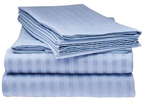 Wamsutta Dreamios Damask Stripe 500-Thread-Count 100% Egyptian Cotton Full Sheet Set in Light Blue - 21 Inch Drop Length (Wamsutta Sheets Full)