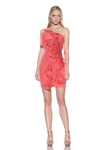 Notte by Marchesa Women's Strapless Cascading Bow Dress, Coral, 6 ()