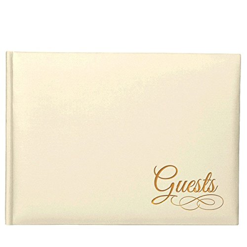 Traditional Guest Book - Traditional Wedding Party Keepsakes Ivory Guest Book With Gold Detail, Paper, 6
