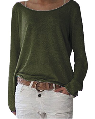 ZANZEA Women's Solid O Neck Long Sleeve T Shirt Casual Knit Tops Blouse Pullover Army Green US 14/Tag Size - Spring Styles