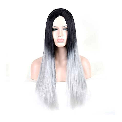 CosHouse 2016 New Cos Hair Women Girls Black and Silver Wigs Sexy Long Straight Cosplay Wigs Fashion Fancy (Coshouse Costumes)