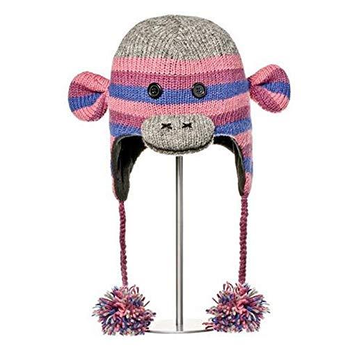 Knitwits Delux Stripe Sock Monkey Pilot Hat Kids Purple (Kids)