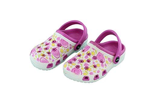Kinder Clogs Hausschuh Mädchen Schuhe Pantolette mit rutschfester Sohle - Farbe: Pink-Weiss - Größe: 24
