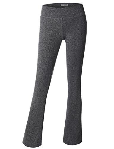 Doublju Women Loose Fit Bootleg Fit Basic Women Fleece Pant MELANGEGREY Acive Wear Pants,L,Large