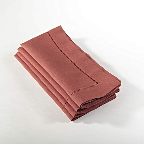 (SARO LIFESTYLE 6100C 24/7 Everyday Collection Terracotta Hemstitched Dinner Napkin, 20