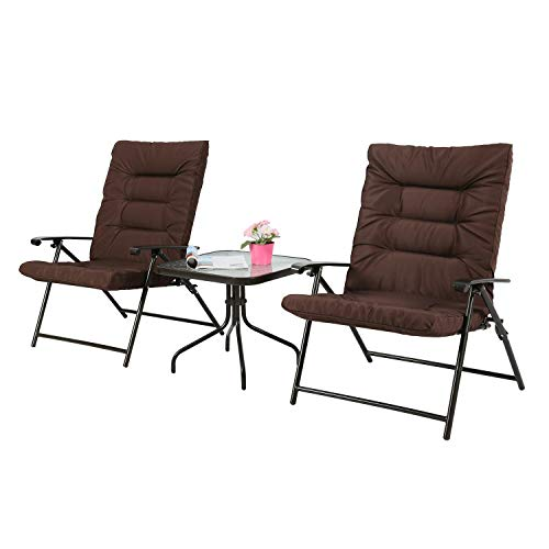 Iwicker Patio 3 PCS Steel Padded Folding Chair Set, Tempered Glass Table Top and Adjustable Reclined Seat, -