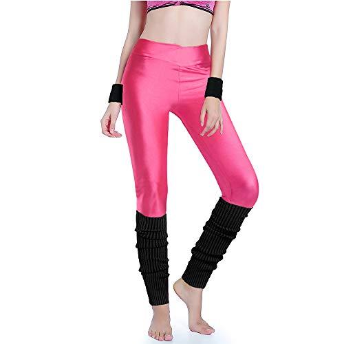 (Kimberly's Knit Women 80s Party Neon Capri Running Workout Leggings Leg Warmers (Small, V hotpink+black))
