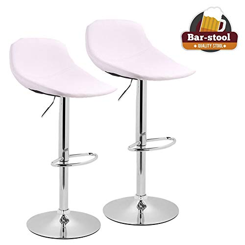 Adjustable Swivel Barstools with Back for Home Bar Kitchen Counter, New Modern White PU Leather Hydraulic Bar Chair-Set of 2, Hold Up to 350lb