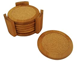Home Basics Coaster Set, Bamboo (6 Piece)
