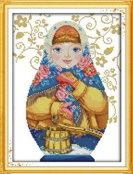 Joy Sunday Cross Stitch kits, Russian doll (6),11CT Counted, 36cm×47 or 14.04×18.33 NKF