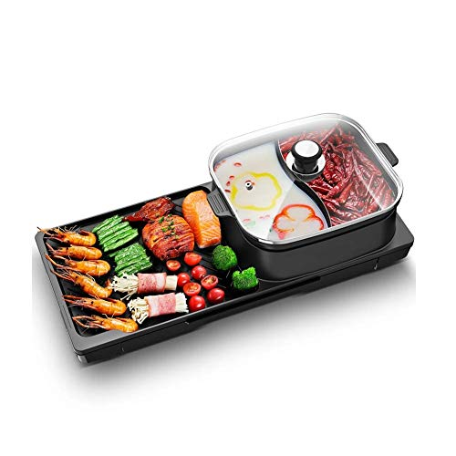 (Lcxligang Multi-Function Electric Grill Pan with Hot Pot 2 in 1 Non-Stick Cooking Hot Plate Smoke-Free Barbecue Indoor Outdoor 2-6 People)
