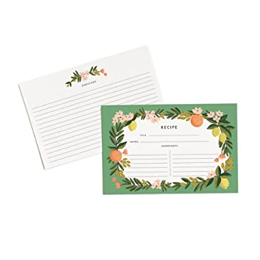 Rifle Paper Co. Citrus Floral 4  x 6  Recipe Cards -- Set of 12 Cards