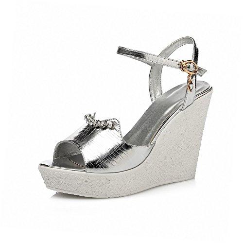 AllhqFashion Women's Buckle Open Toe High Heels Solid Sandals Silver