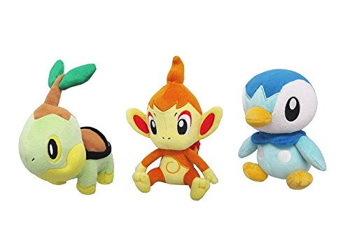 Sanei Set of 3 Pokemon Stuffed Plushes - PP87 Turtwig/ PP88 Chimchar/ PP89 Piplup (Pokemon Chimchar)