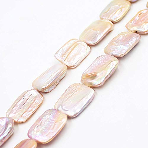 Natural 15x20mm Reborn Rectangle Baroque Cultured Freshwater White Pink Purple Pearl Gemstone Beads Strand 15