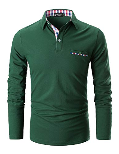 STTLZMC Polo Shirts for Men Long Sleeve Casual Fit Plaid Collar T-Shirts (XXX-Large, Green)