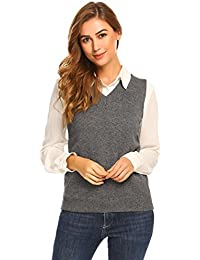 Women's Solid Clssic V-Neck Sleeveless Pullover Sweater Vest Top