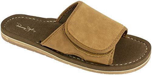 Panama Jack Mens Sandal,Premium Slide Sandal with Adjustable Strap,Arch Support,Brown,Men's Size 8 to 9 ()