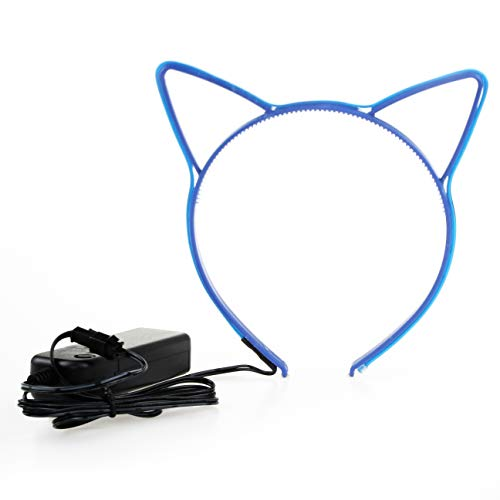 Light up Kitty Cat Ear Headbands Glowing Flashing Blinking Kitten Headwear El Wire Lights for Thanksgiving Christmas Party Birthday Festivals Accessories Costume Makeup Cute Women Adults Little Girls -