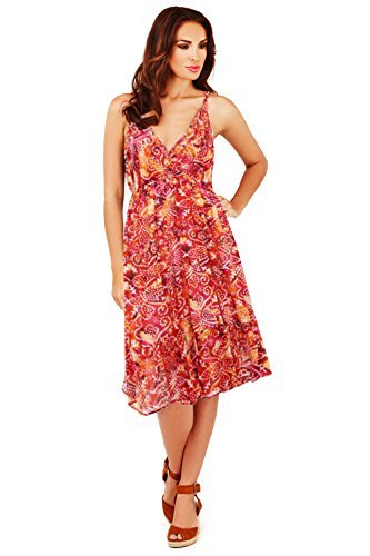 Pistachio - Vestido - skater - Floral - Sin mangas - para mujer Red - Spotted Aztec