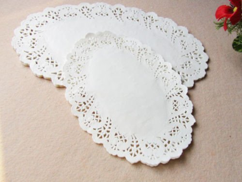 200 PCS 8.5*12.5 Inch White Oval Cakes Biscuits Hollow Lace Paper Pad (Edge Punch Doily Lace)