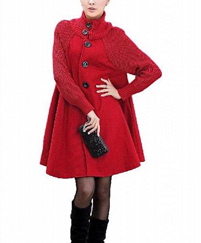 (プチドフランセ)PetitetcFrancaisゆったり暖かコート外出膝丈厚手(03 L,赤)