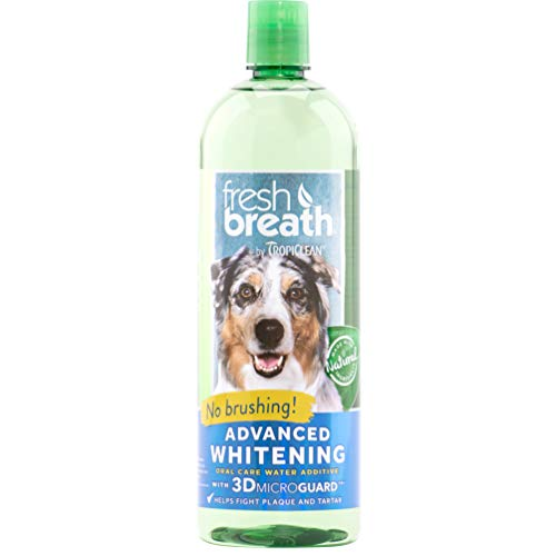 TropiClean Fresh Breath Advanced Whitening Oral Care Water Additive for Dogs, 33.8oz, Made in USA from TropiClean