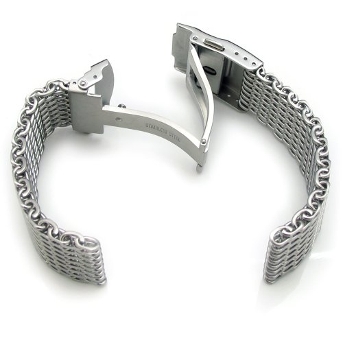 19mm Ploprof 316 Reform Stainless Steel ''SHARK'' Mesh Milanese Watch Band, Brushed, BB by 19mm Mesh Band (Image #2)