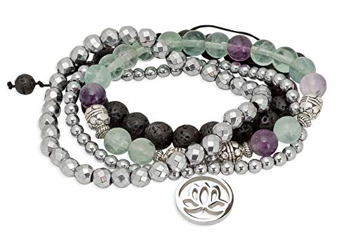 SPUNKYsoul Purple & Green Fluorite Lotus New Beginnings Bracelet Hematite for Healing Stack Bracelet Set ()
