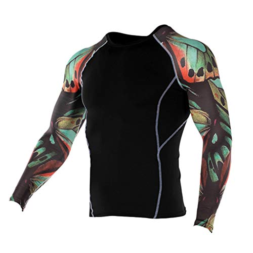 JJLIKER Mens Print Performance Long Sleeve Compression Shirts Cool Dry Baselayer Fitness Elastic T-Shirt Quick-Drying