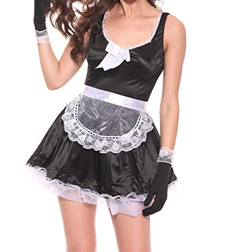 Sexy Cosplay French Apron Maid Servant Lolita Sexy Costume Baby Dress Uniform Role Play Hot 2018,Black,XXL ()
