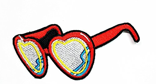 3.2 x 1.4 inches.Red Heart Sunglasses Shades Specs Iron On Applique Patch Cartoon kid Patch Embroidered DIY Patches, Cute Applique Sew Iron - Try Virtually Sunglasses