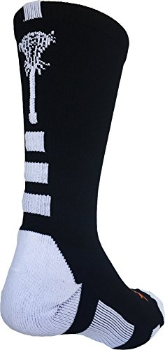 TCK Sports Midline Lacrosse Logo Crew Socks (Black/White, Medium)