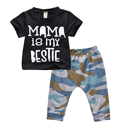 Summer Baby Boys Camo Outfits Set, Toddler Infant Letter Print Short Sleeve Tee Shirt Tops + Casual Pants Trousers (Black, 0-6 Months) – The Super Cheap