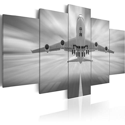 """raft Canvas Wall Art Contemporary Print Artwork Realistic Picture Modern Plane Flying on Sky Painting 5 Pieces Home Decor Framed Ready to Hang (Large W60"""" x H30"""") ()"""