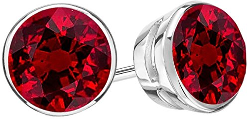 2.5 Carat Total Weight Ruby Solitaire Stud Earrings Pair Platinum Popular Premium Collection Bezel Push Back ()