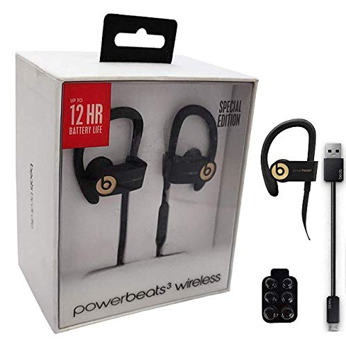 Beats by Dr. Powerbeats3 Wireless Earphones + Wall Charger with 6 Cable (Retail Packing Bundle) (Trophy Gold)