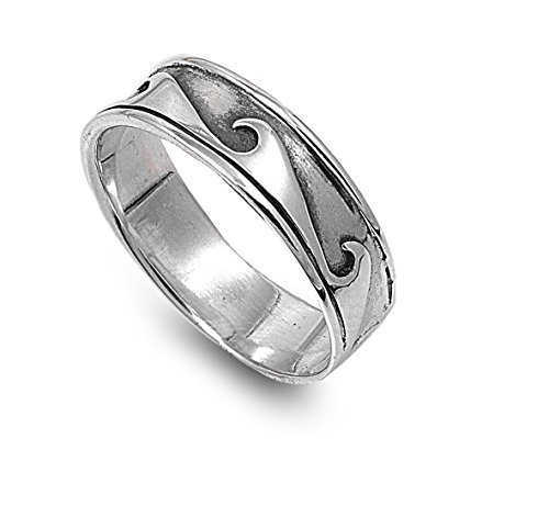 CloseoutWarehouse Sterling Silver Maori Tribal Wave Ring Size 11 (Wave Womens Tribal)