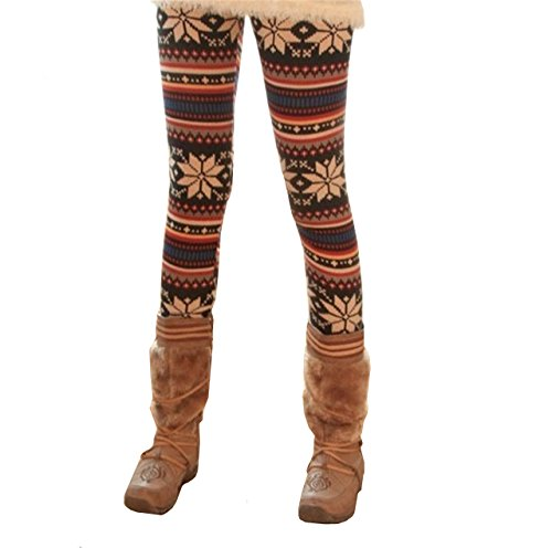 Cheap Ayliss Women's Winter Snowflakes Pattern Warm Knitted Leggings Tights Pants supplier