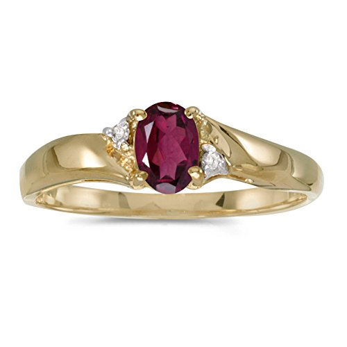 Jewels By Lux 14k Yellow Gold Oval Rhodolite Garnet And Diamond Ring Size 7