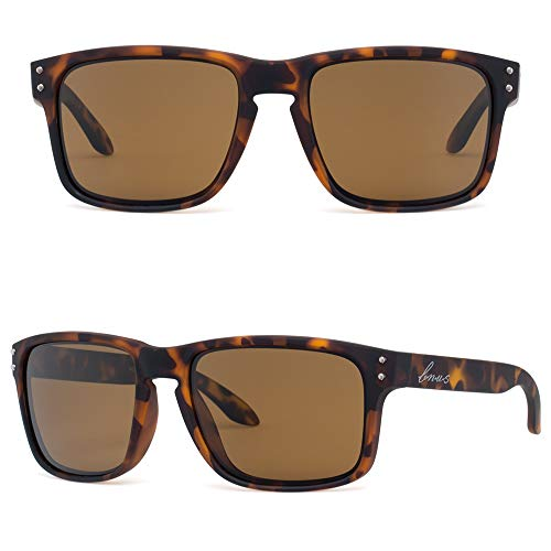(BNUS Italy made Classic Sunglasses Corning Real Glass Lens w. Polarized Option (Tortoise Rubber/Brown B15 Polarized, Polarized Size:56mm(M)))