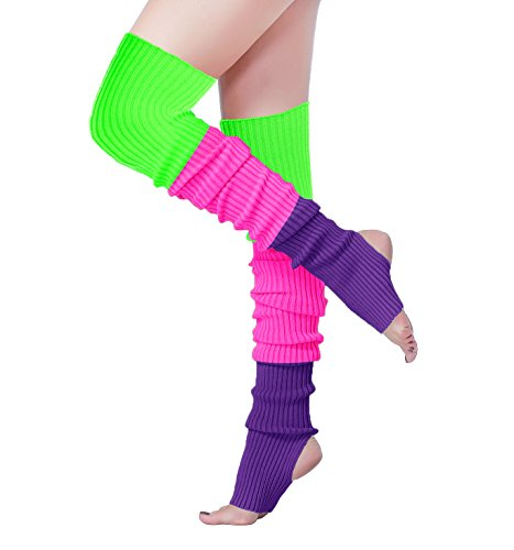 * NEW * Women's Thigh High Multi-Colored Leg Warmers