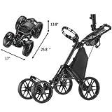 Caddytek One Click Folding 4 Wheel Golf Push Cart, Version 3 (Dark Grey) - Front Wheel Alignment Mechanism - Scorecard Holder Integrated with STORAGE COMPARTMENT, BEVERAGE HOLDER and MESH NET - Umbrella Holder and Storage Rack INCLUDED