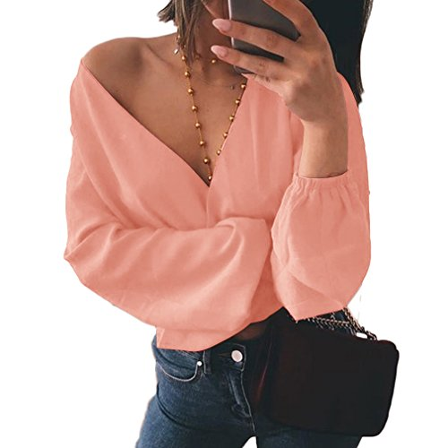 MOLFROA Womens Sexy Wrap Chest Deep V-Neck Long Sleeve Chiffon Backless Tie Crop Top Short Blouses Shirts (S, Pink) ()