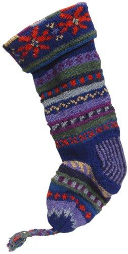 (Handknit Wool Christmas Stockings (Blue Stripe))