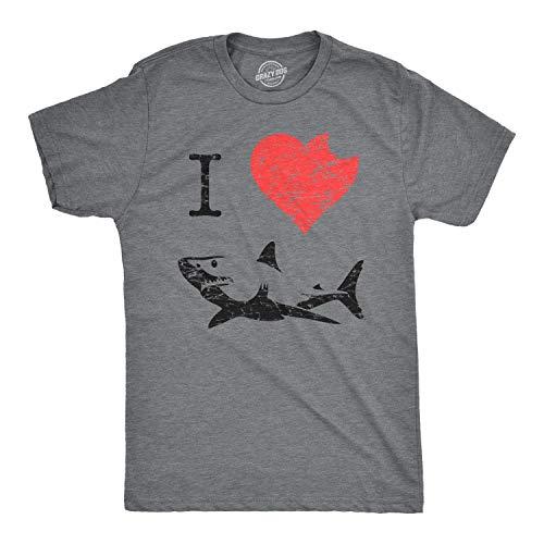 I Love Sharks T Shirt Heart Classic Shark Bite Ocean Great White Tee (Dark Heather Grey) - 4XL