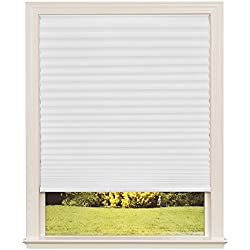"Easy Lift Trim-at-Home Cordless Pleated Light Filtering Fabric Shade White, 36 in x 64 in, (Fits windows 19""- 36"")"