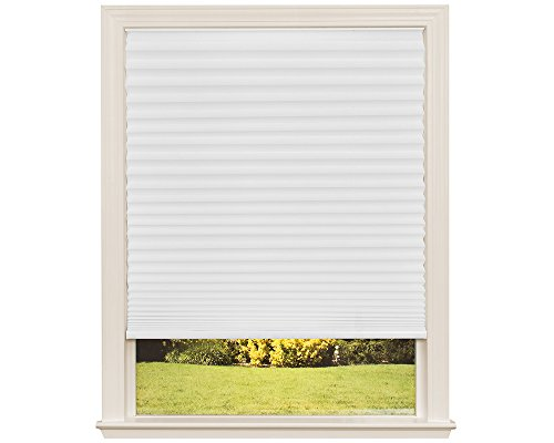 30 Inch Window - Easy Lift Trim-at-Home Cordless Pleated Light Filtering Fabric Shade White, 30 in x 64 in, (Fits windows 19